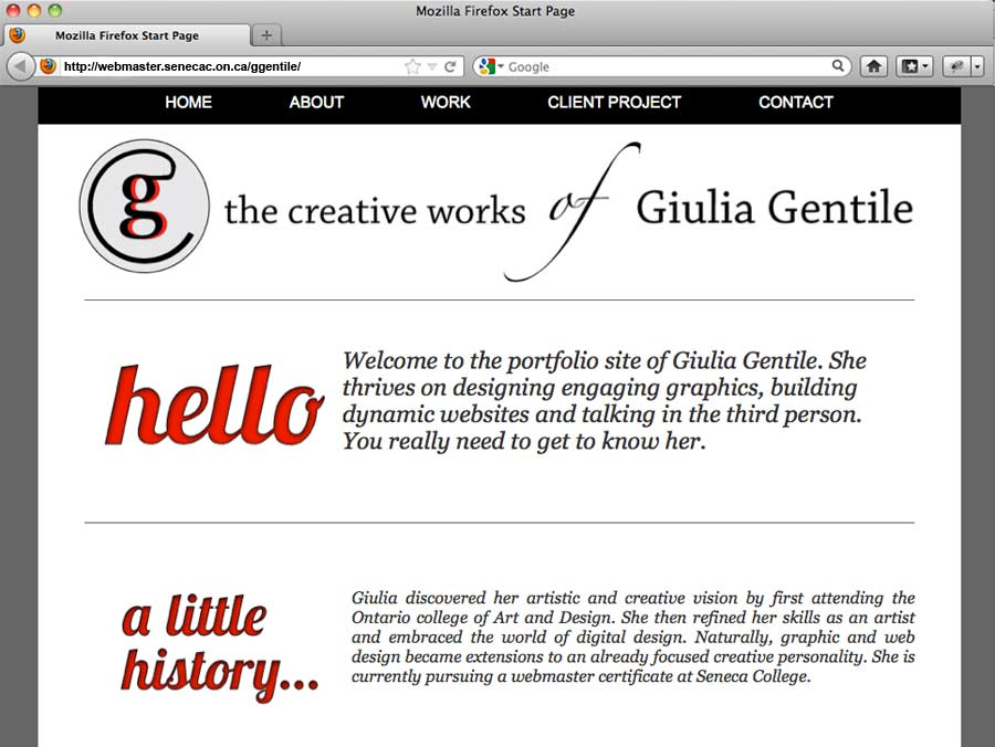 website portfolio of Giulia Jones